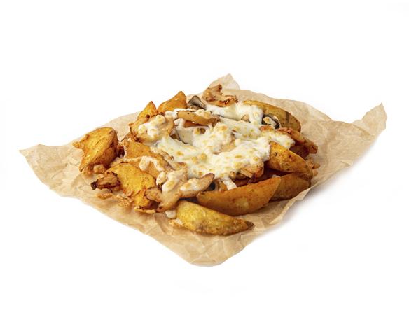 Картофель с ветчиной и грибами